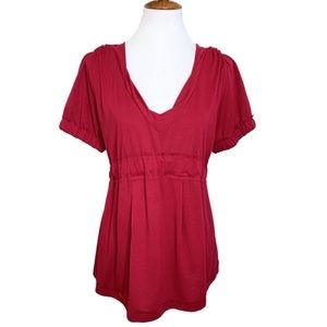 Marc Jacobs Tie Back Cranberry Babydoll Blouse